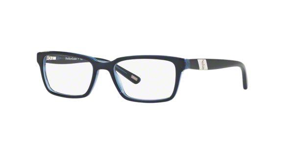 PP8525: Shop Polo Prep Blue Rectangle Eyeglasses at ...