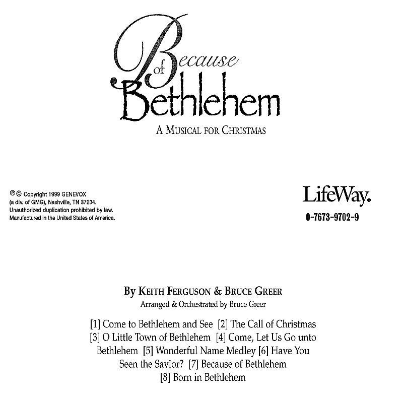 Because of Bethlehem – Listening CD