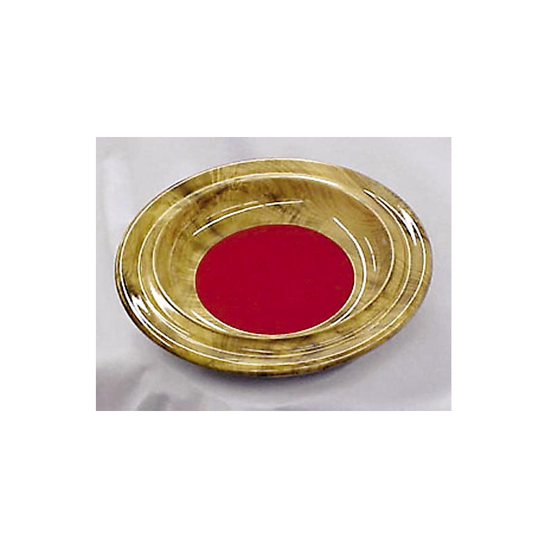 Offering Plate: Myrtlewood - Contoured Rim with Red Pad
