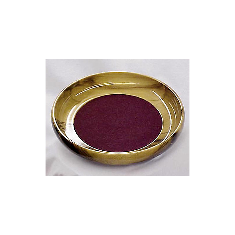 Offering Plate: Myrtlewood - Bowl Style with Burgundy Pad