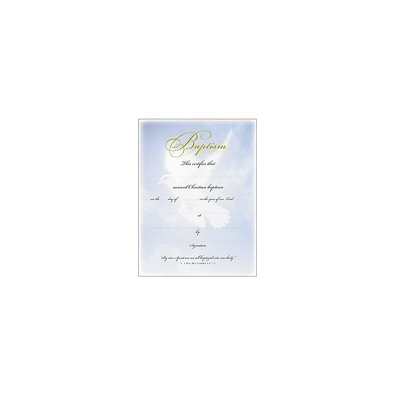 Baptism Certificates (1 Corinthians 12:13)