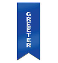 Blue Ribbon with Silver Greeter