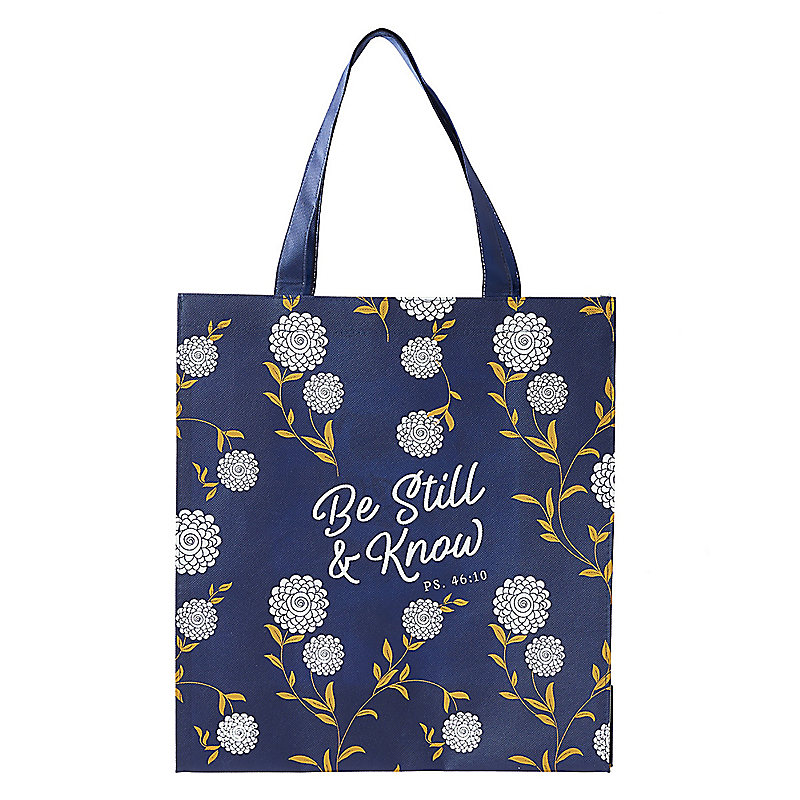 """""""Be Still and Know"""" Tote, Navy"""