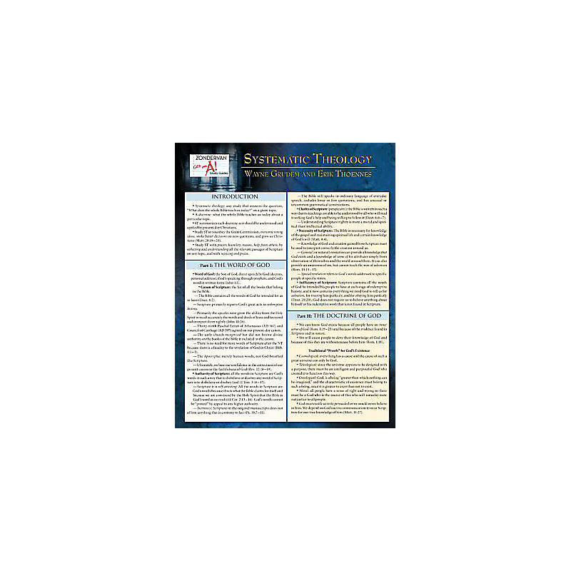 A Systematic Theology Laminated Sheet