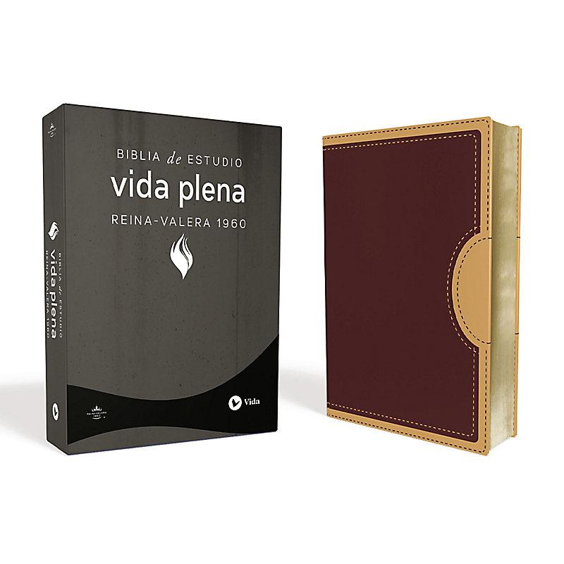 Rvr 1960 Biblia de Estudio Vida Plena, DOS Tonos Italiana, Rojo Oscuro/Beige