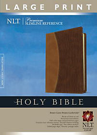 Large Print Slimline Reference Bible - NLT - Brown/Gator