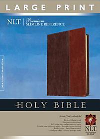 Premium Slimline Reference Bible-NLT-Large Print (Tan/Brown)