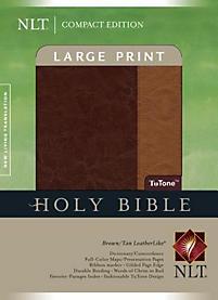 Large Print Bible-NLT-Compact                                                                                                                          (Tan/Brown)