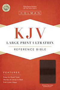 KJV Large Print Ultrathin Reference Bible, Brown/Chocolate LeatherTouch | Holman Bible Staff