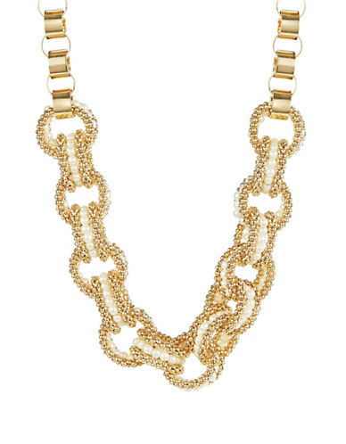 CATHERINE STEIN Interlocking Gold Tone and Faux Pearl Necklace