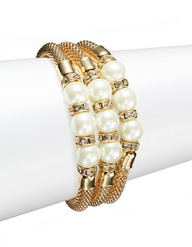 CATHERINE STEINFaux Pearl Goldtone Mesh Bracelets