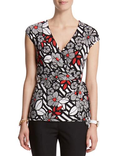 ANNE KLEIN PETITEPetite Stripe and Floral Print Cap Sleeve Blouse