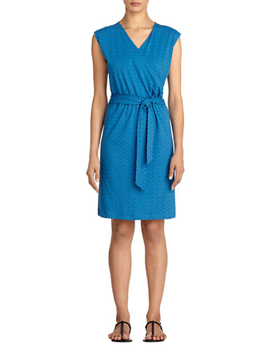 JONES NEW YORK Stretch Cotton Faux Wrap Belted Dress