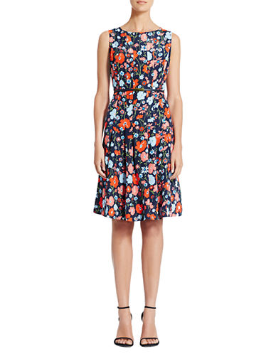 JONES NEW YORK Floral Print Fit and Flare Belted Dress