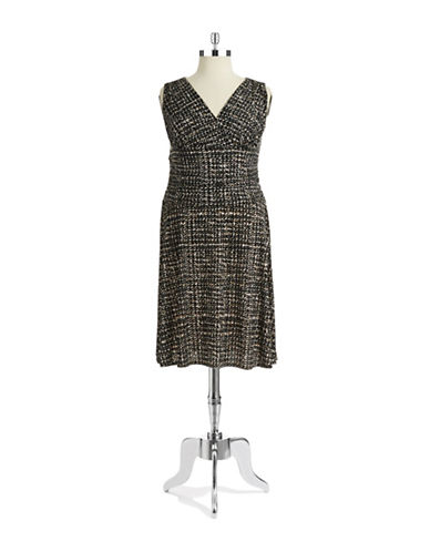 Jones New York Plus Plus Patterned Drop Waist Dress