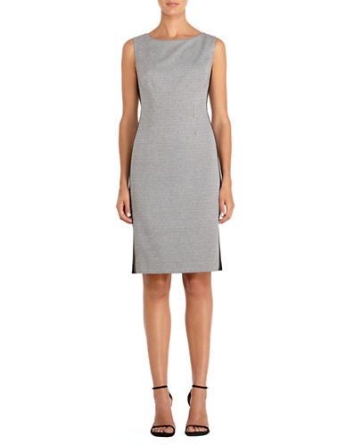 JONES NEW YORK Ponte Leather Piped Sheath Dress