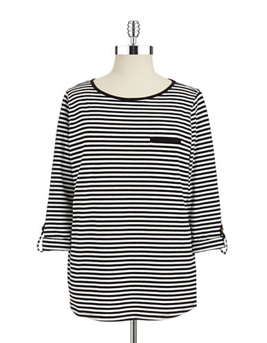 JONES NEW YORK PETITES Petite Striped Long Sleeve Tee