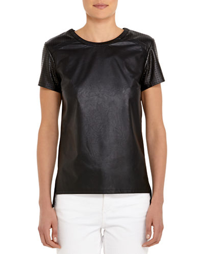 JONES NEW YORKPerforated Sleeve Faux Leather Top