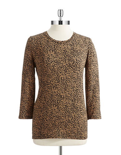 JONES NEW YORK PETITES Petite Animal Print Tee
