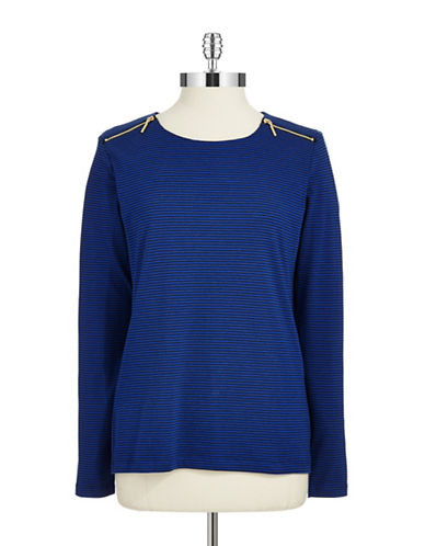 ANNE KLEIN Zipper Accented Long Sleeve Tee