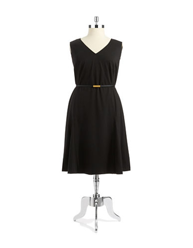 JONES NEW YORK PLUS Plus Belted Fit and Flare Dress