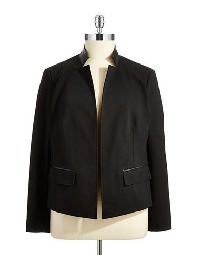 JONES NEW YORK PLUSPlus Faux Leather Trimmed Blazer