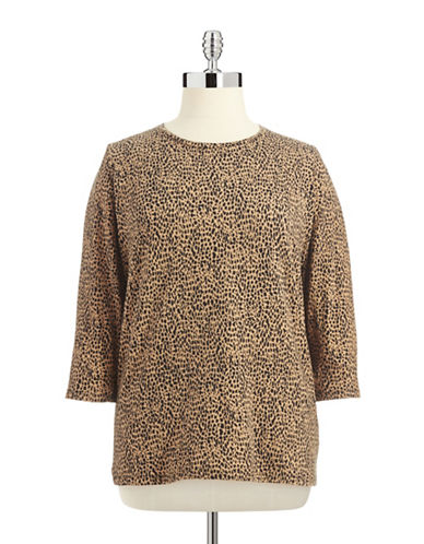 JONES NEW YORK PLUS Plus Animal Print Tee