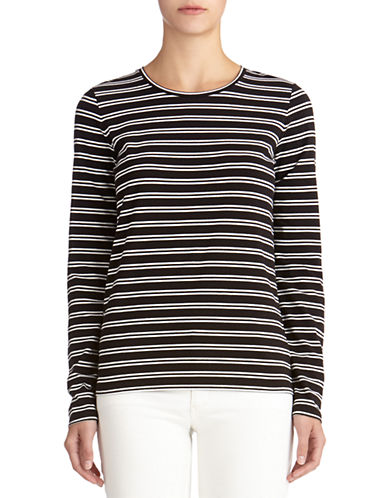 JONES NEW YORK SIGNATURE Petite Striped Hi-low Top