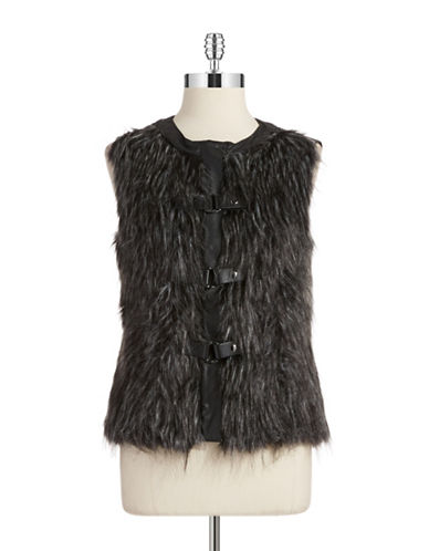 Jones New York Plus Plus Faux Fur And Knit Vest