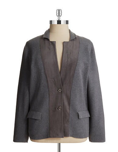 Jones New York Plus Plus Faux Suede Cardigan