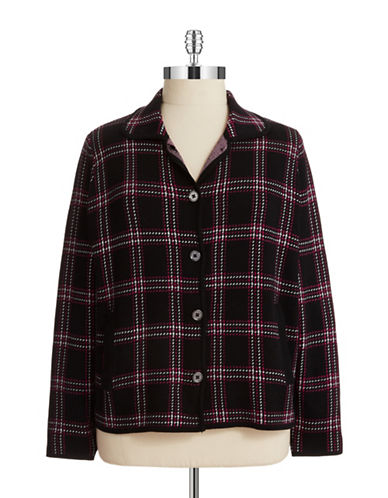 Jones New York Plus Plus Plaid Cardigan