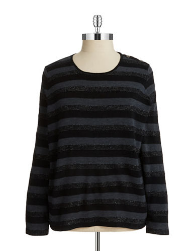 Jones New York Plus Plus Striped Knit Pullover