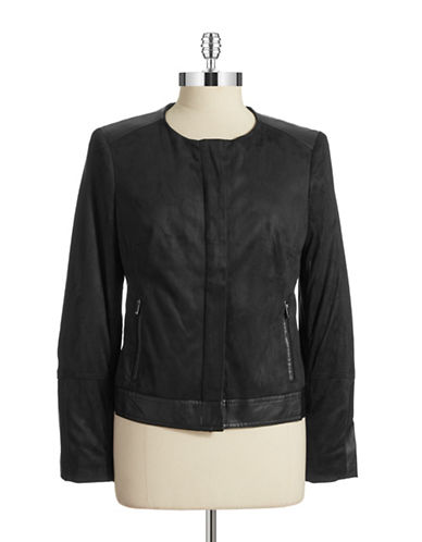 Jones New York Plus Plus Faux Suede Leather Jacket