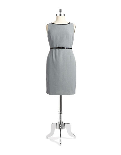ANNE KLEINGeo Print Belted Sheath Dress
