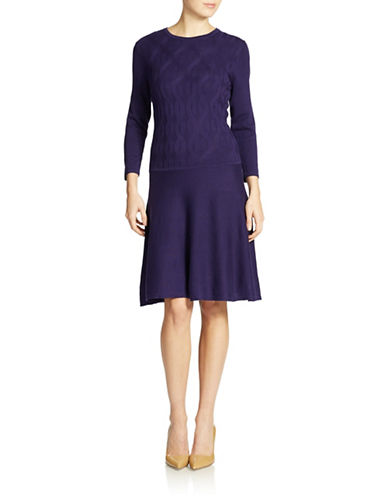 NINE WESTCable Knit Fit and Flare Dress