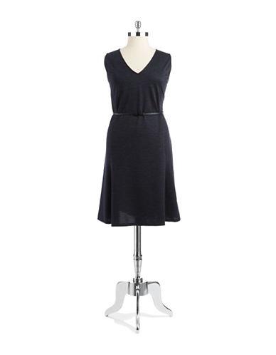 JONES NEW YORK PLUSPlus V Neck Belted Dress