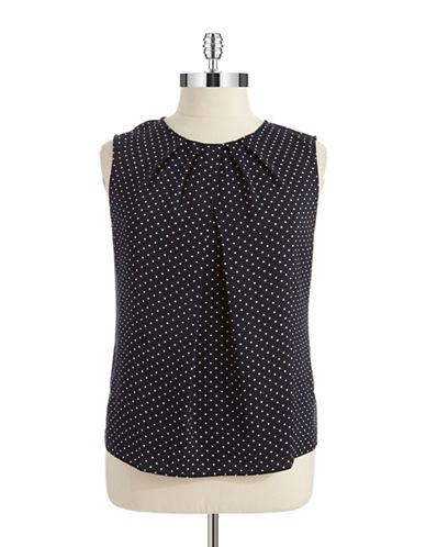 Jones New York Plus Plus Polka Dot Blouse