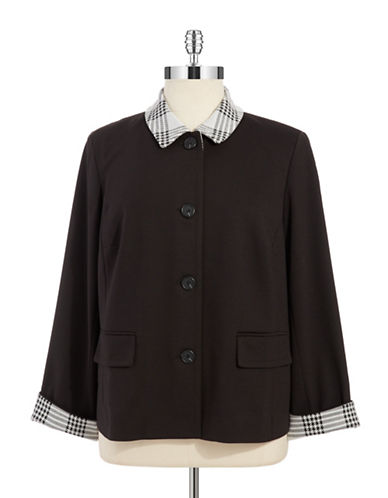 Jones New York Plus Plus Houndstooth Trimmed Coat