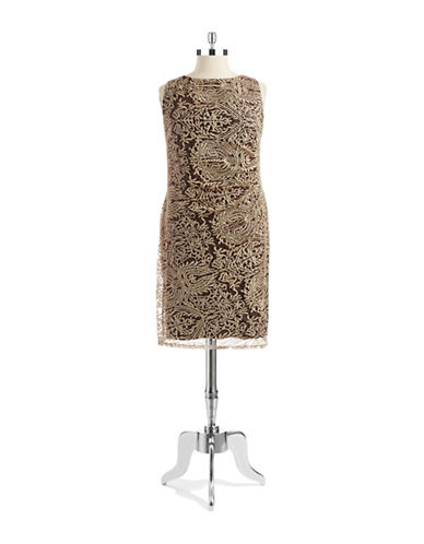 ANNE KLEINPlus Lace Overlay A Line Dress