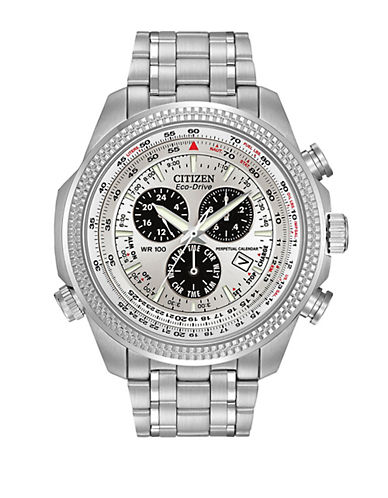 CITIZENMens Eco-Drive Stainless-Steel Alarm Chronograph Watch