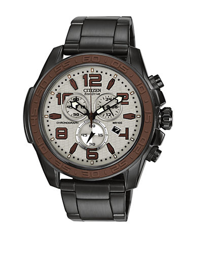 CITIZEN Mens Eco-Drive Black Ion-Plated Chronograph Watch