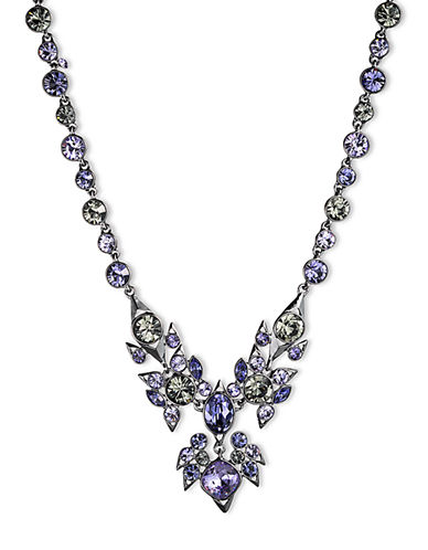 GIVENCHYHematite Tone and Mixed Violet Crystal Large Collar Necklace