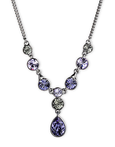 GIVENCHYHematite Tone and Mixed Violet Crystal Y Necklace
