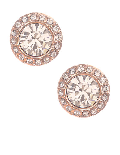 GIVENCHY Rose Gold Tone and Swarovski Crystal Stud Earrings