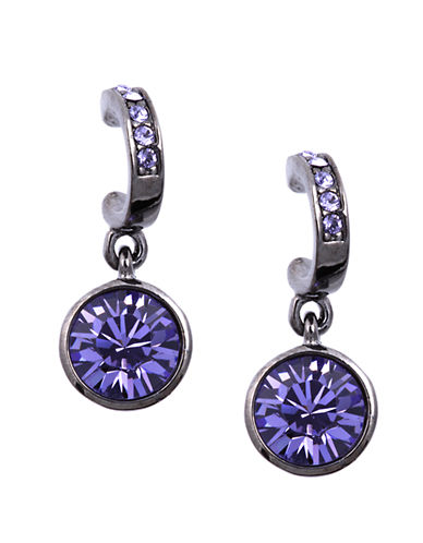GIVENCHY Hematite Tone and Tanzanite Crystal Drop Earrings