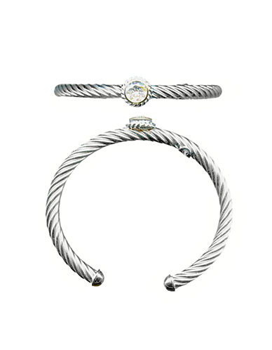 LORD & TAYLOR Sterling Silver and Cubic Zirconia Cuff Bracelet