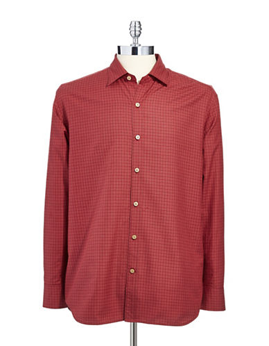 TOMMY BAHAMA Grid Print Button-Down Shirt