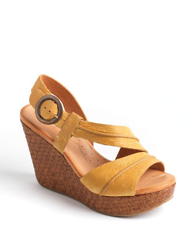 NAYA Estra Leather Platform Wedge Sandals