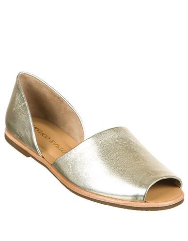 FRANCO SARTO Venezia Metallic Leather Open-Toe Flats