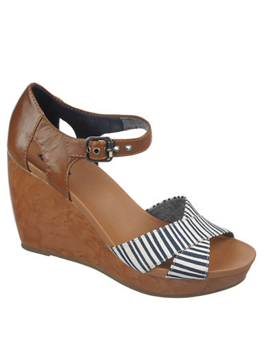 DR. SCHOLLS Melody Leather & Fabric Platform Sandals